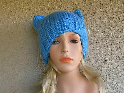 Hand Knitted Women s Beanie Blue Acrylic Cat Ear Style Winter Med Slouch  Hat New 32fb765c8d3c
