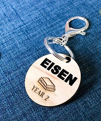 Personalised Wooden Kids Keychain Keyring / Bag Tag - Book Back to School Tag