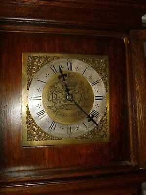 Oak cased Cottage style Grandfather clock, solid brass face circa 1850.