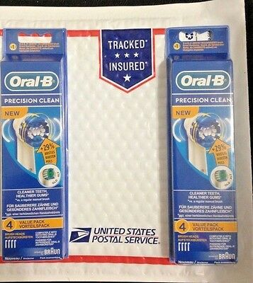 8 Braun Oral B Precision Clean Toothbrush Replacement Brush Heads Eb20-4