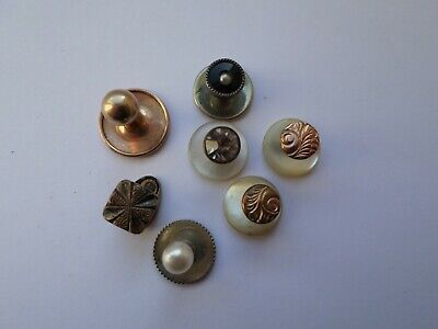 7 vintage circa early to mid 20th century dress studs