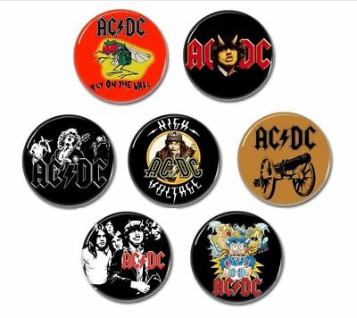 7 x AC/DC buttons (badges, pins, back in black, highway to hell, heavy metal)