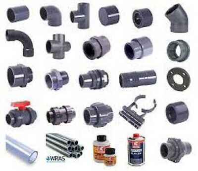 PVC Pressure Pipe Fittings. Grey Metric Solvent Weld. WRAS Approved. 20 to 110mm