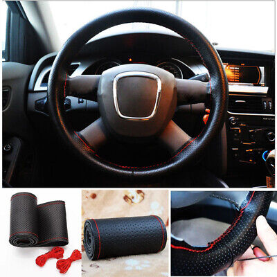 DIY Genuine Leather Steering Wheel Cover 14''/15''/16'' w/Needles Thread  QLM