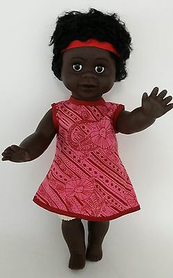 "Australian Aboriginal Doll Girl Black 35cm or 13"" Pink Dress"