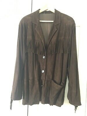 Giacca pelle Blues Club Max Mara con frange woman fringe jacket real leather