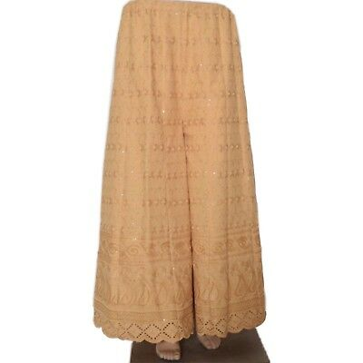 Vintage Beige Cotton Sharara Indian Embroidered Palazzo Casual Pants