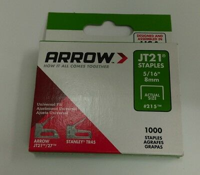 Arrow - JT21 T27 Staples 8mm ( 5/16in) Box 1000