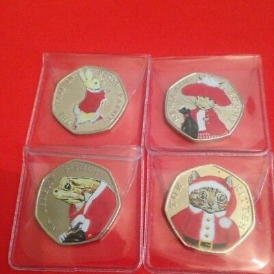 Christmas Coloured 2017 Uncirculated Set Of 4 Beatrix Potter 50P Coins All 4!