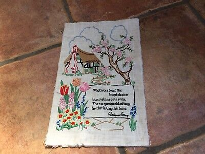 Needlepoint Picture Embroidery Tapestry Poem Patience Strong Old Cottage Garden