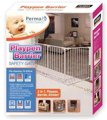 Perma Child Safety 3 IN 1 PLAYPEN BARRIER GATE Upto 3.7m Fits 72-370cm
