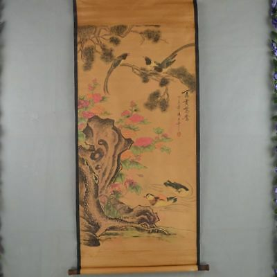 Exquisite Chinese archaize antique Hand painting make Mandarin duck map