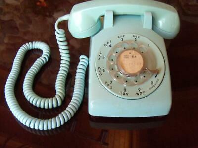 Vintage~Western Electric 500 Aqua Blue Rotary Dial Desk Phone Bell System~WORKS~