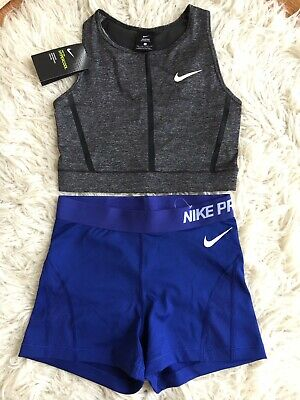 New Womens Nike Pro Dri Fit Crop Top / Shorts Active Gym Sz S