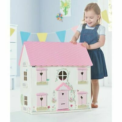 Large Wooden Dolls House Kids Toy Girls Gift Pink
