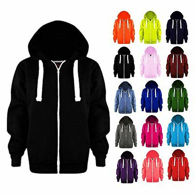 Girls Boys Plain Zip Up Fleece Colour Hoodie Kids Hoody Tops Sweatshirt Jackets