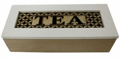 French Country Tea Bag Box WHITE WITH WOODEN CUTOUTS Small Teabag Holder New