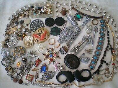 Job Lot Of Antique & Costume Jewellery For Up Cycle - Spare Repair - Harvest.