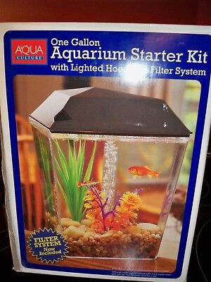 Aqua Culture One Gallon Aquarium Starter Set With Lighted Hood And Filter System