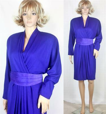 VTG 70s Gillian Wool Purple Leather V Wrap Dolman Tulip Secretary Dolly Dress L