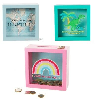 Sass & Belle Vintage Map Big Adventures Money Box Piggy Bank, Rainbow, Dinosaur