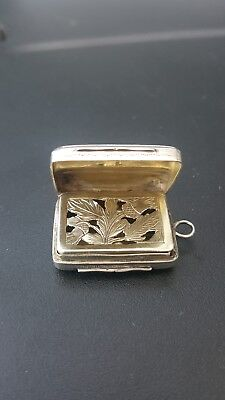 stunning george iii solid silver vinaigrette c1816 with floral decor nice cond.