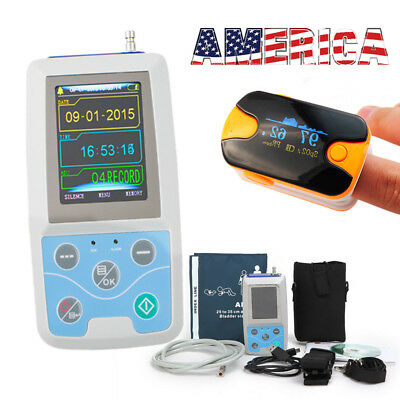 US SHIP Ambulatory ABMP Holter Monitor ECG/EKG Machine ABMP Monitor System+gift