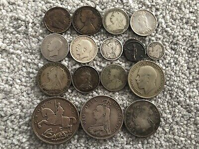 16 GB Silver Coins 1889 Double Florin, 1935 Crown, 1816 & 1817 Shilling Coin Lot