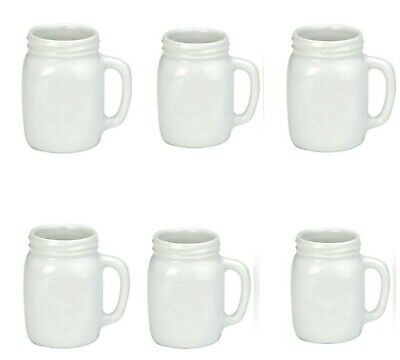 BIA International Oasis Espresso Mason Jars Coffee Cup/Dessert Set of 6, White