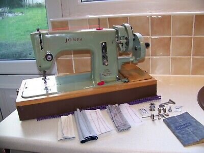 Rare Jones Heavy Duty Hand Sewing Machine,case,semi Industrial Fabrics,serviced
