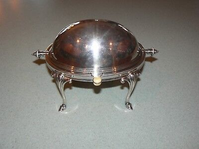 Antique Silver Plated Butter Dish Revolving Dome Lid, Glass Dish