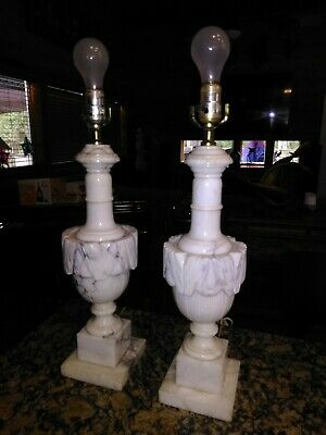 """PAIR of Vintage Italian Alabaster Carved Marble Table Lamps 22-1/2"""""""