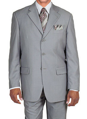 Men's Classic Single Breasted 3 Button Wool Feel Suit #5802 L.Gray, Olive
