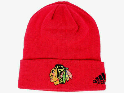 6cb10bd015ad9 CHICAGO BLACKHAWKS RED Nhl Vtg Knit Cuffed Beanie Ski Winter Cap Hat Nwt!  Adidas
