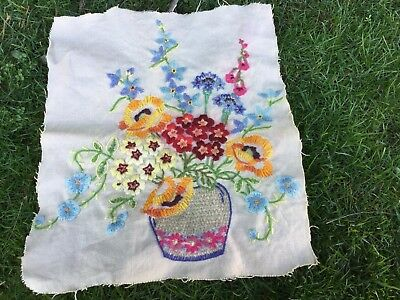 Needlepoint Picture Embroidery Antique Tapestry  Sewing Spring Flowers In Vase