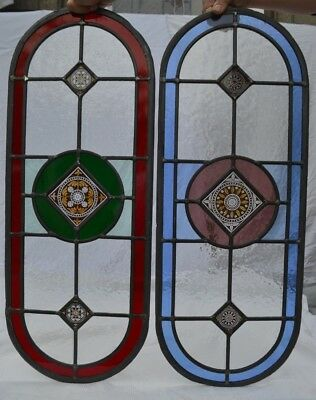 2 traditionally made British leaded light stained glass window panels. R826a