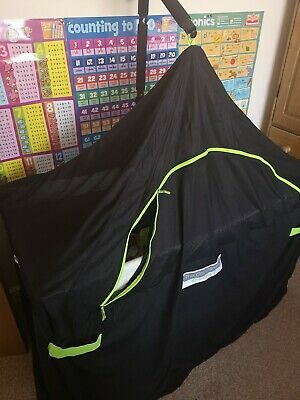 The Cot Canopy Breeze. Black with green zips. Excellent condition
