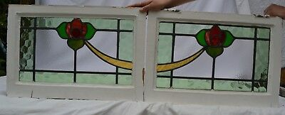 2 British leaded stained light glass window panels. R825a