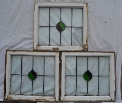 3 art deco British leaded light stained glass window panels. R854.