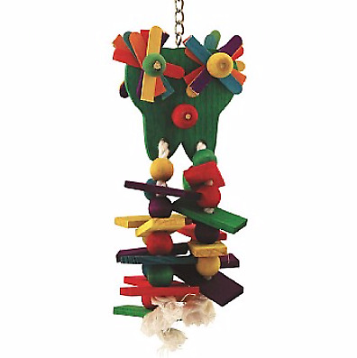 Starry Eyed Wood & Rope Parrot Toy - Parrot Is Going To Go Starry Eyed For This