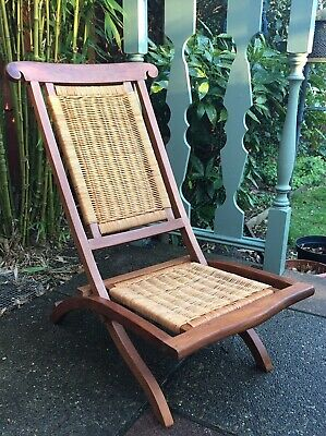 Folding Burmese Teak Campaign Chair With Rattan / Rush Seat
