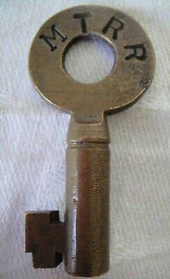 Antique Brass Hollow Barrel Key for MTRR Mississippi Tennessee Railroad~Romer Co