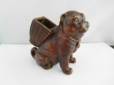Wonderful Victorian Cold Paiinted Bronze Pug Table Vesta Holder