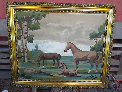 Mid Century Modern Horses Abstract Painting