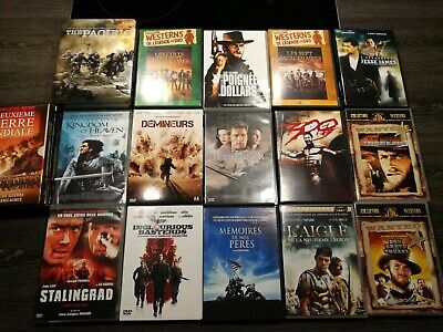 Lot de 16 DVD Films de guerre + Films Westerns