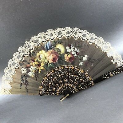 Asian Chinese Silk Floral & Lace Hand Fan Carved Antique Vintage Mint