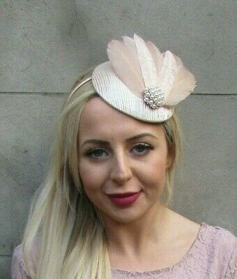 Nude Beige Champagne Feather Pillbox Hat Fascinator Hair Races Wedding 7029