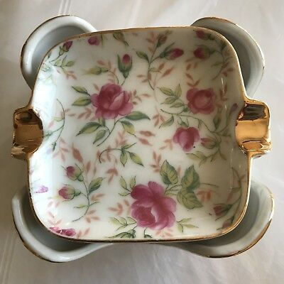 Lefton China Vintage Rose Chintz Mini Ashtray Set in Holder