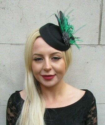 Black Emerald Bottle Green Feather Pillbox Hat Hair Clip Fascinator Races 7030