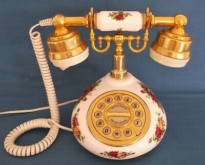 Royal Albert Old Country Roses Rare Vintage Telephone England Fully Working